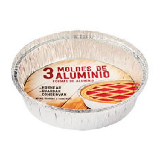 BANDEJA ALUMINIO TARTERA 20CM 3UD