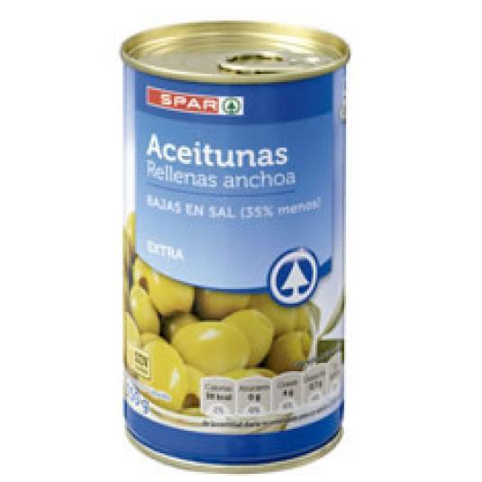 ACEITUNAS RELLENAS ANCHOA BAJA SAL 150GR
